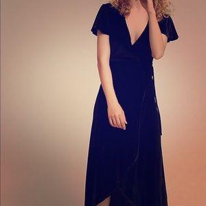 Anthropologie black velvet wrap dress